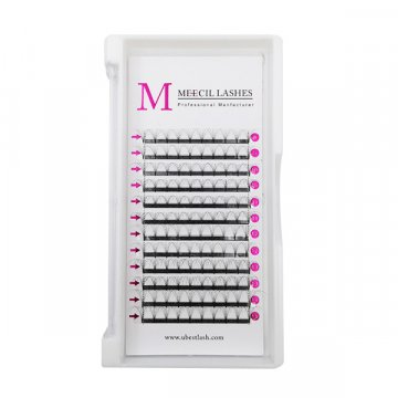 6D 0.05D MIX black glossy glue bonded premade fan lashes 6D