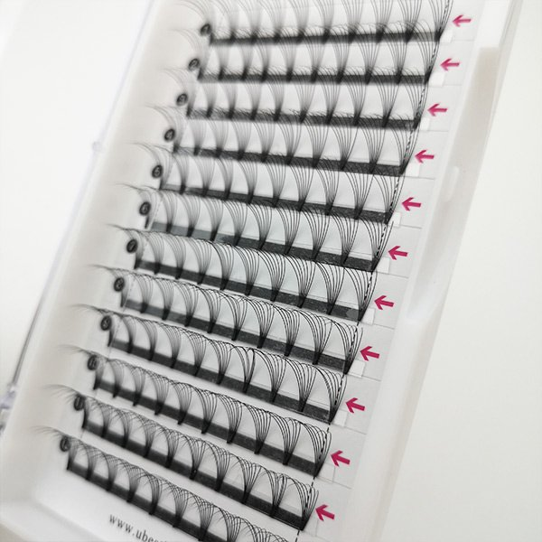 7D 0.10D 12MM black glossy glue bonded premade fan lashes 7D ()